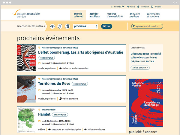 capture d'écran du site culture-accessible.ch