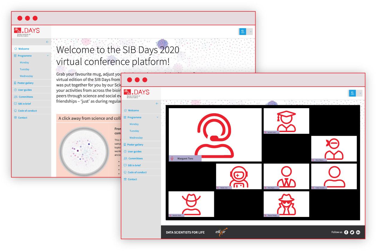 Deux captures d'écran de l'interface du site SIB Days, la page d'accueil et la partie vidéoconférence