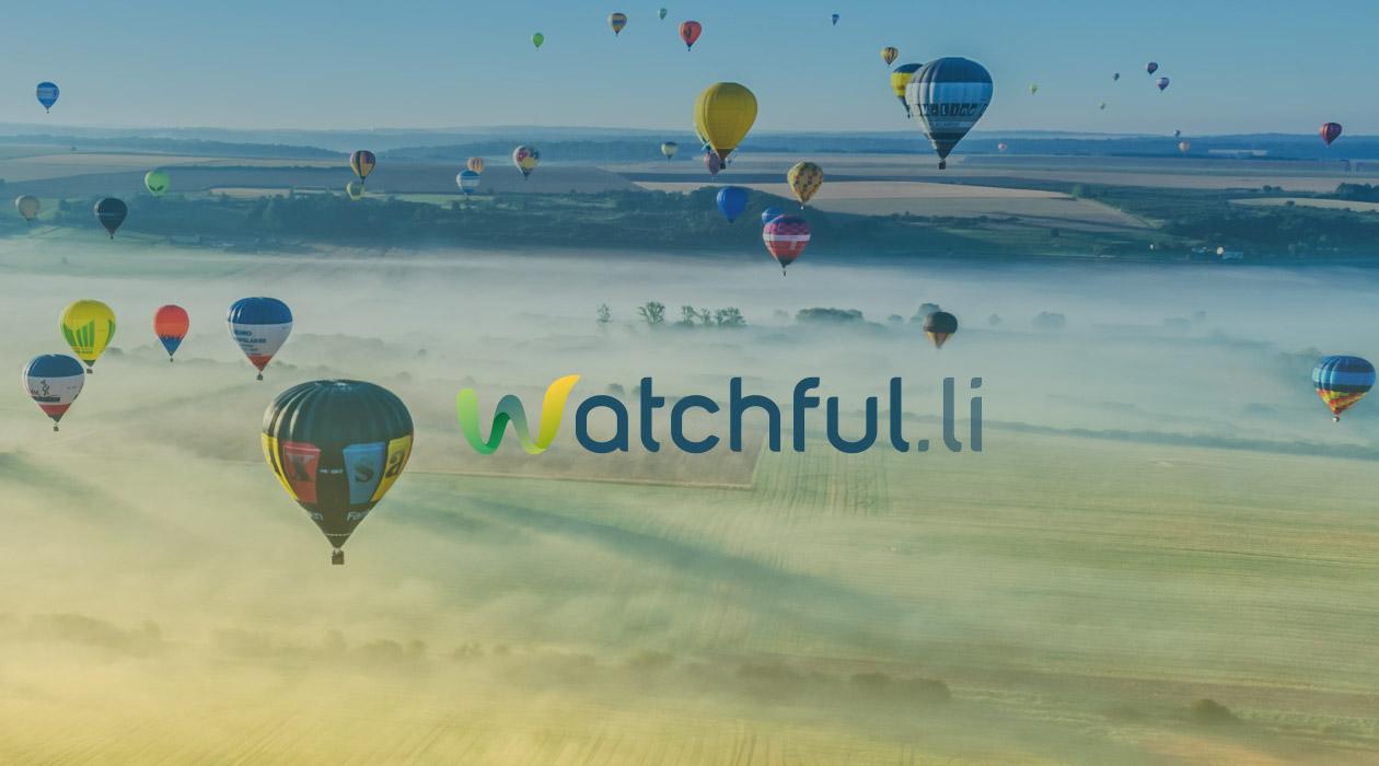 Logo watchful.li appliqué sur une image de montgolfières