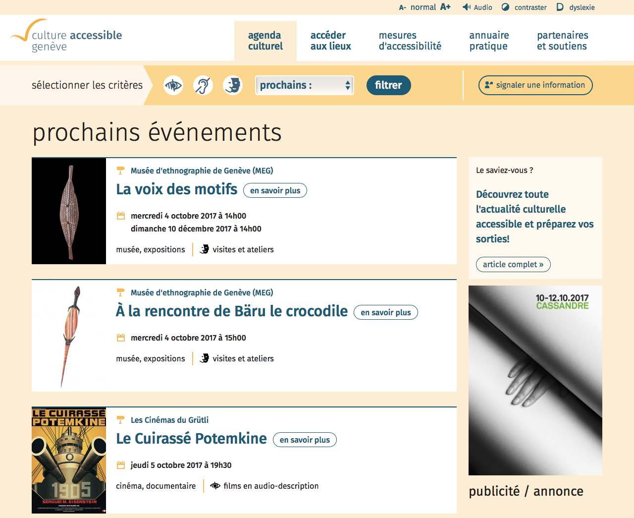 Page d'accueil accessible - culture-accessible.ch