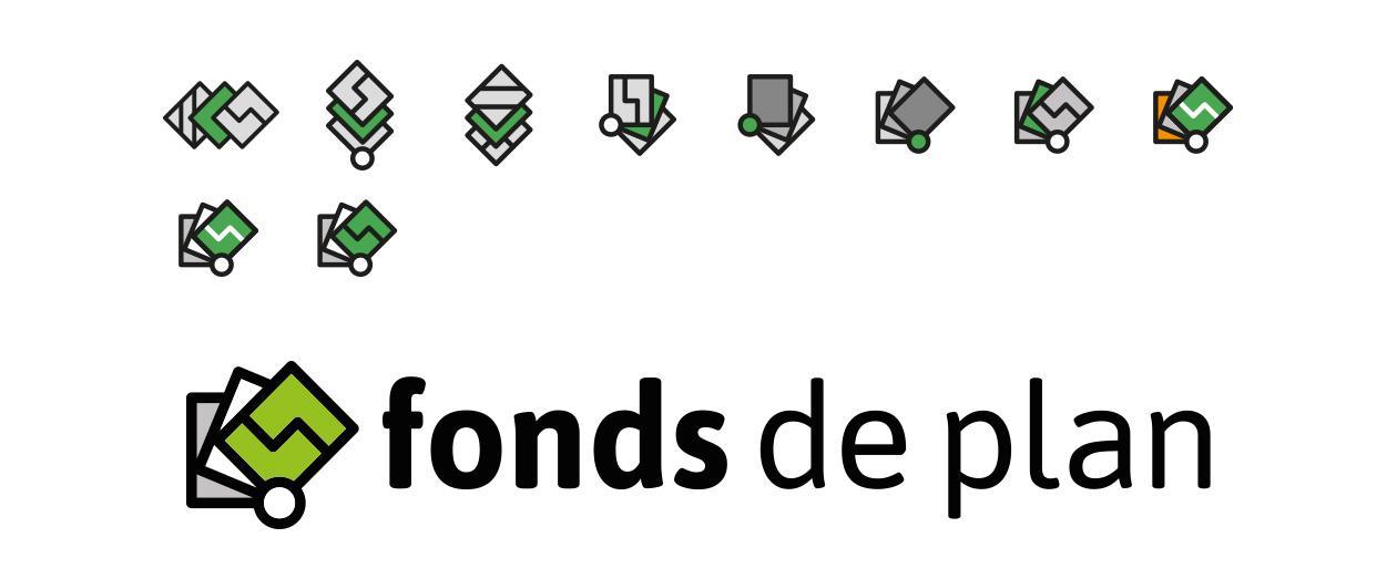 Recherches visuelles de pictogrammes et logo final fonds de plan