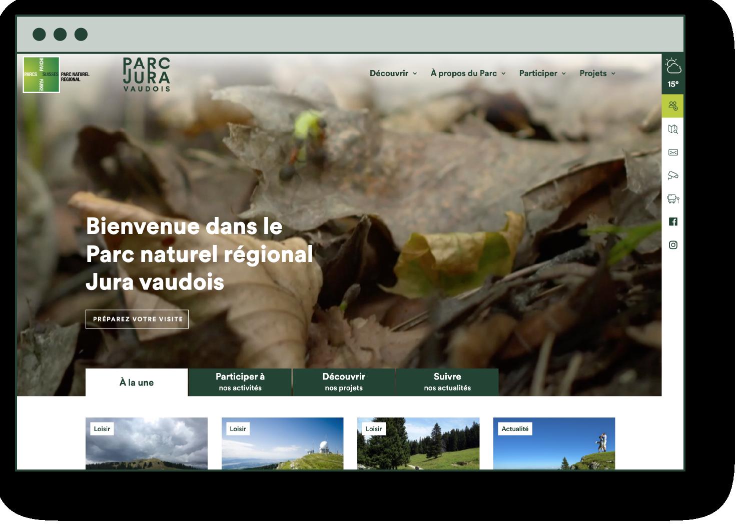 Site du Parc en version desktop