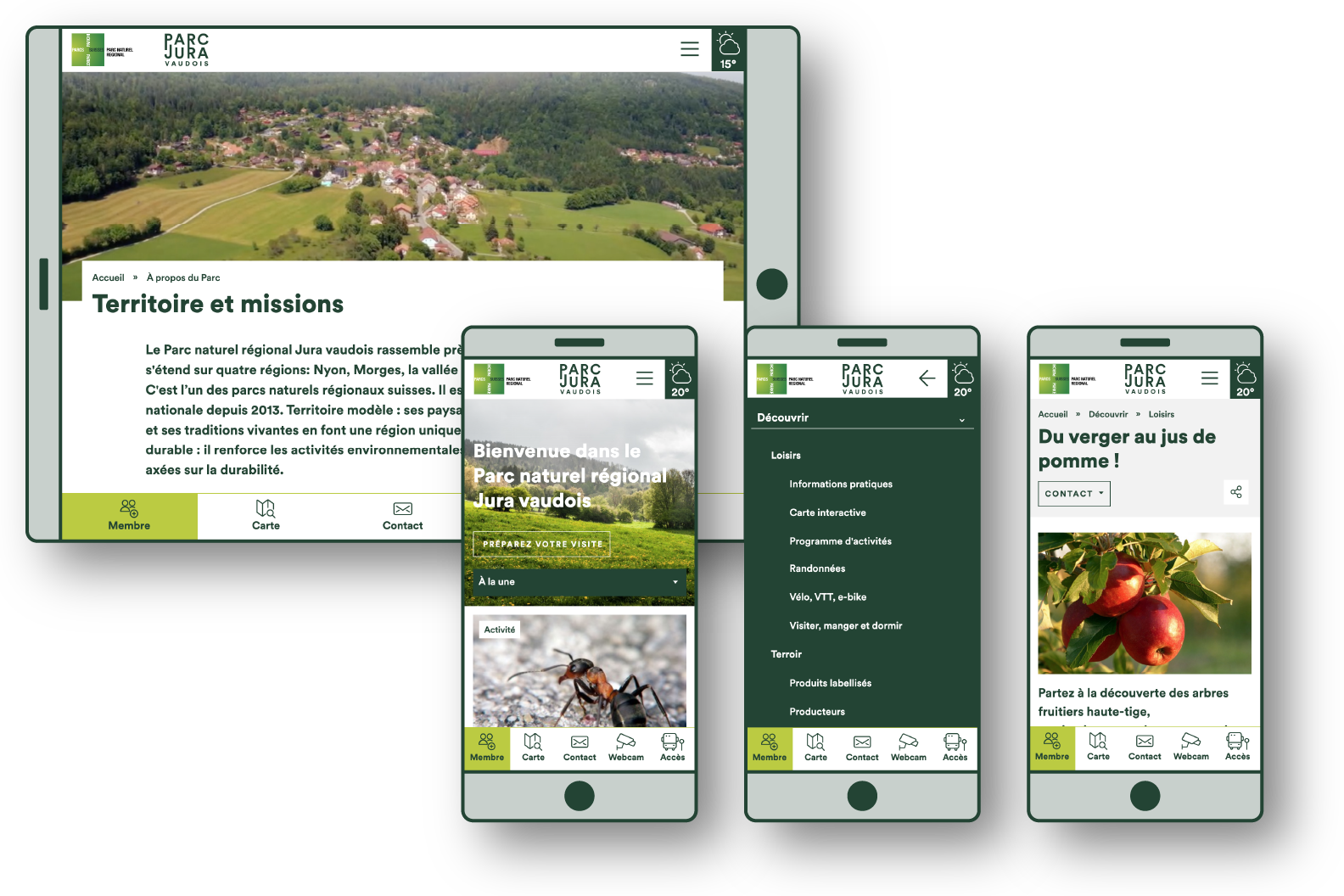 Site du Parc en version mobile et tablette