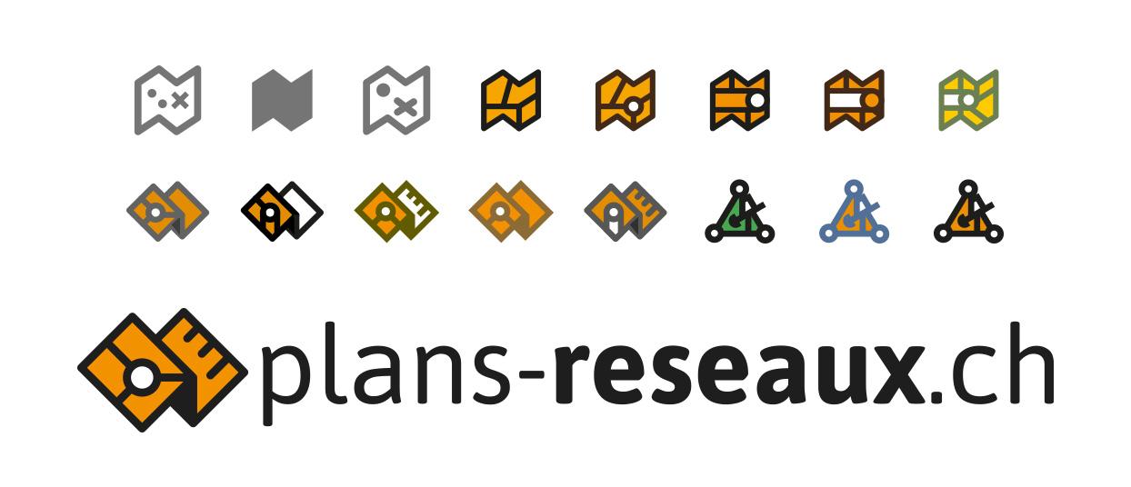 Recherches visuelles de pictogrammes et logo final plans-reseaux.ch
