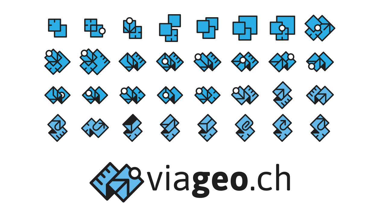 Recherches visuelles de pictogrammes et logo final viageo.ch