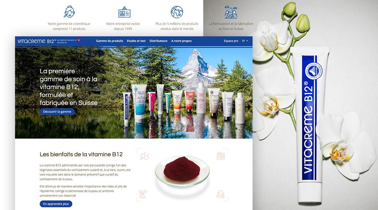 Montage avec la page d'accueil, 4 pictogrammes et le visuel de la Vitacrème B12