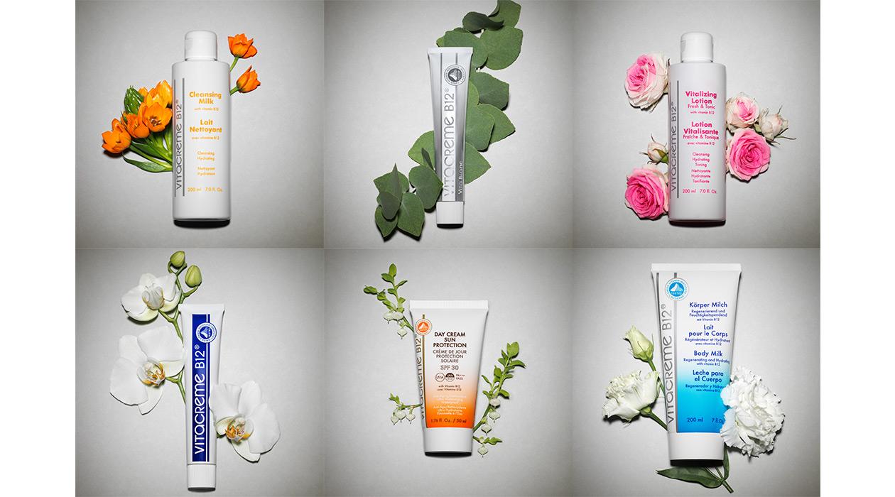 Photos de 6 produits mis en scène avec des éléments naturels actifs.
