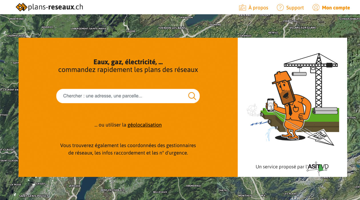 Page d'accueil desktop de plans-reseaux.ch