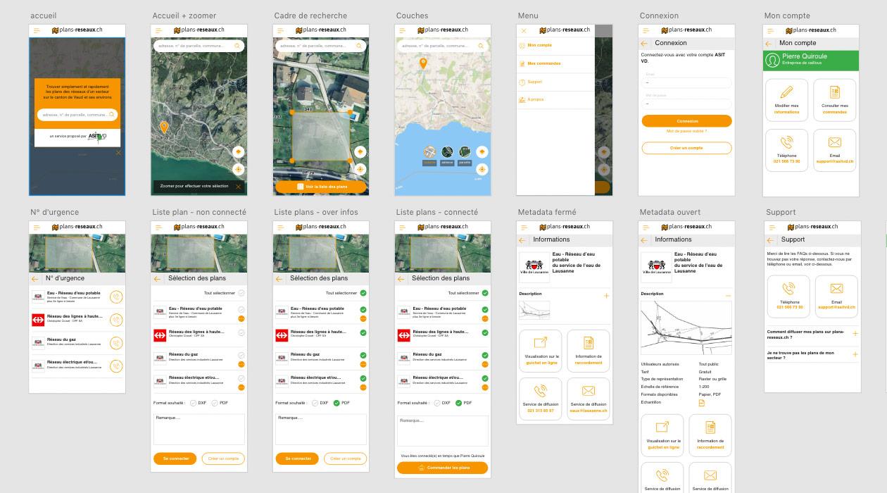 Maquettes des différents écrans de l'application fait sous Adobe XD
