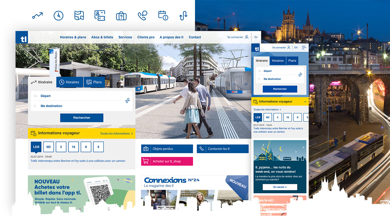 Présentation de notre travail de page d'accueil, avec des pictogrammes et la version mobile du site