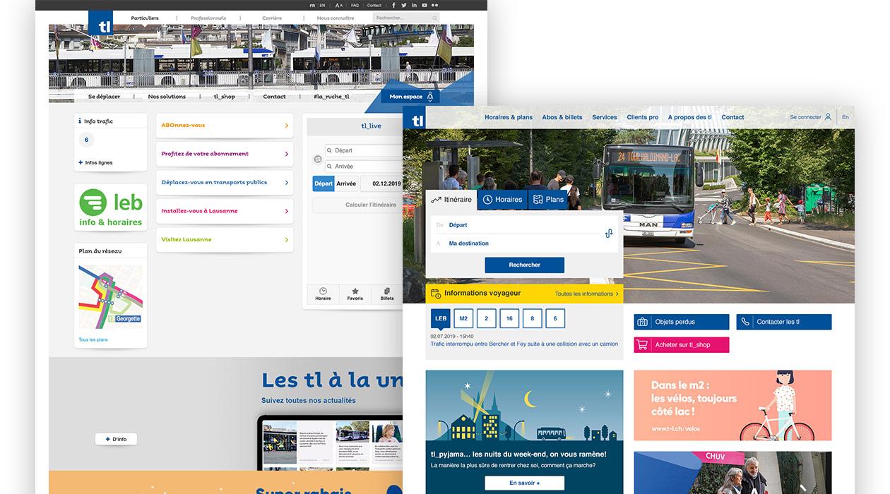 Page d'accueil des TL avant et après