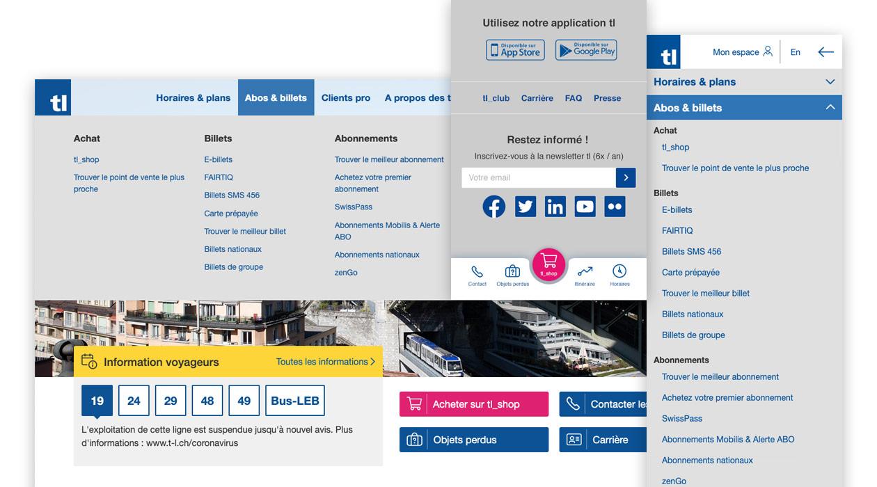 Menu de navigation desktop et mobile