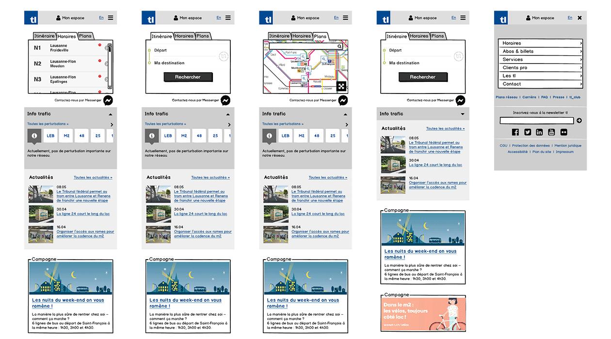 Maquettes fonctionnelles ou wireframes de la version mobile du site