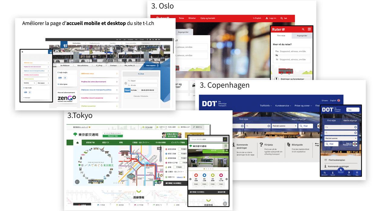 Captures d'écran de pages d'accueil d'autres transporteurs