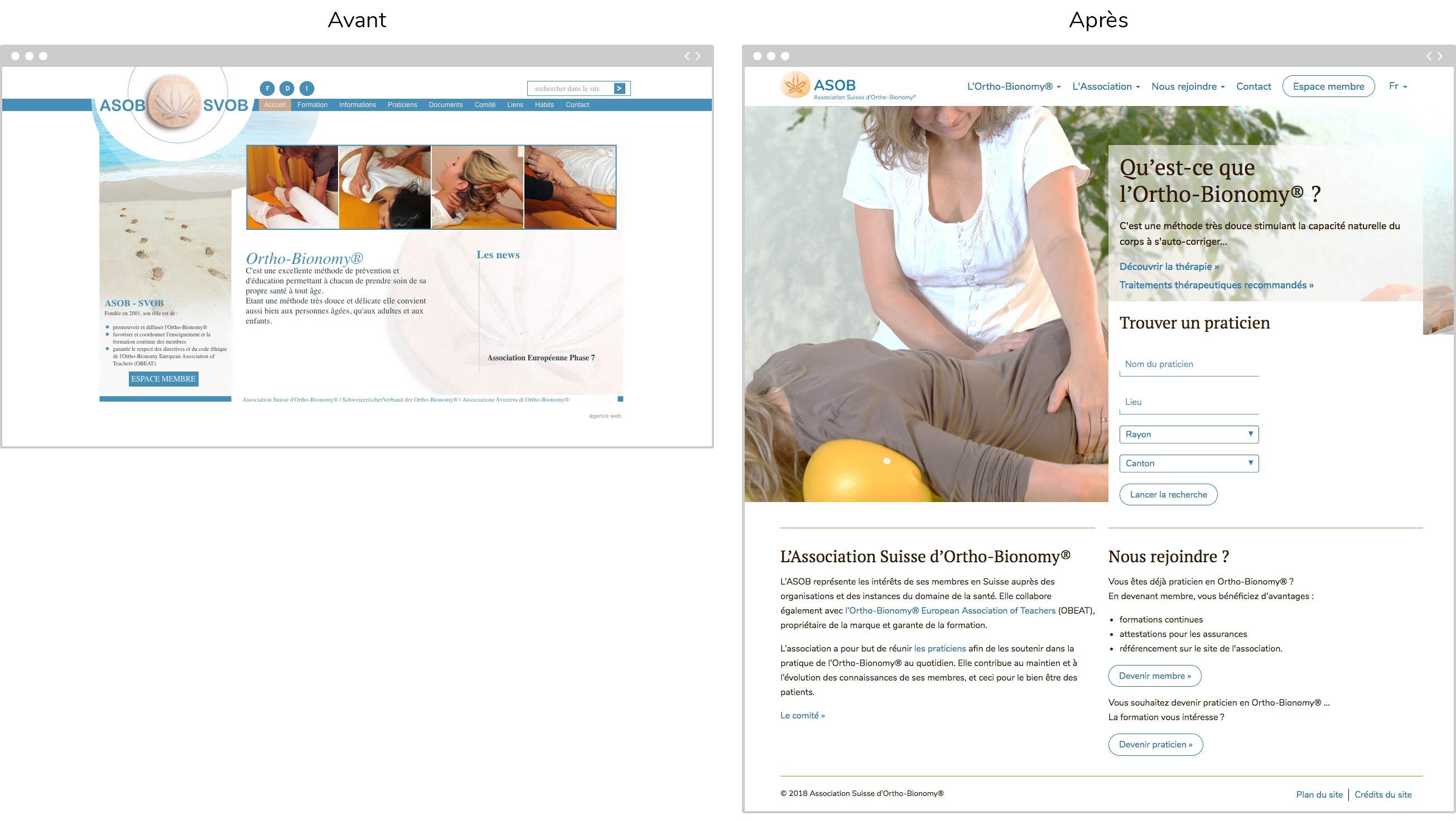 Page d'accueil avant / après