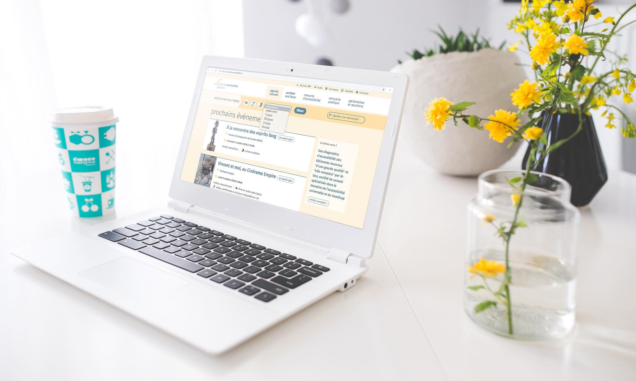 Ordinateur portable avec un pot de fleurs jaunes, présentant la page d'accueil du site culture-accessible.ch
