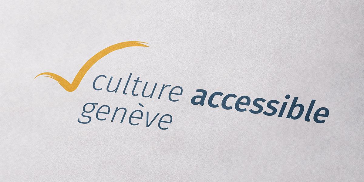Présentation du logo culture accessible genève sur une feuille de papier