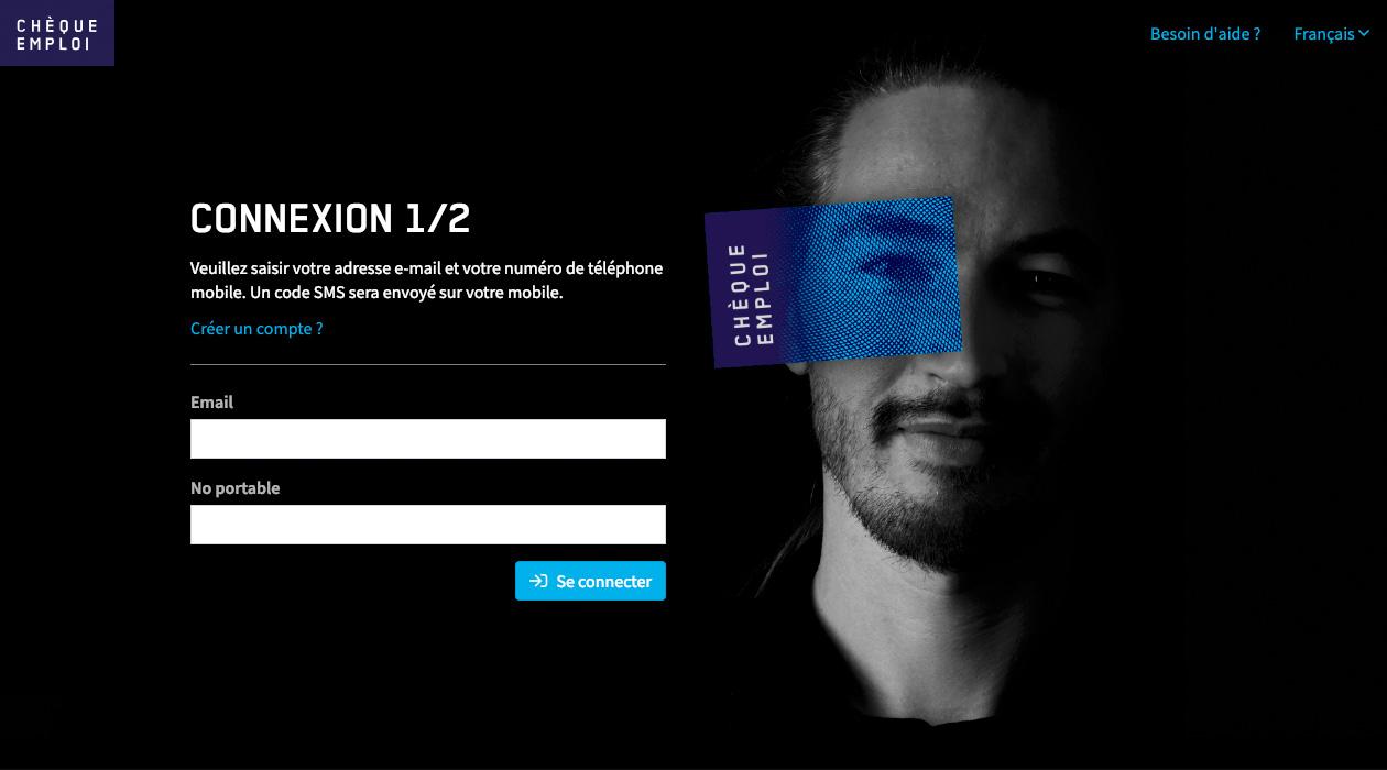Chèque emploi Fribourg, écran 1/2 de connexion à l'application en ligne