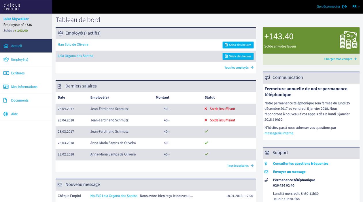 Chèque emploi Fribourg, tableau de bord de l'application en ligne