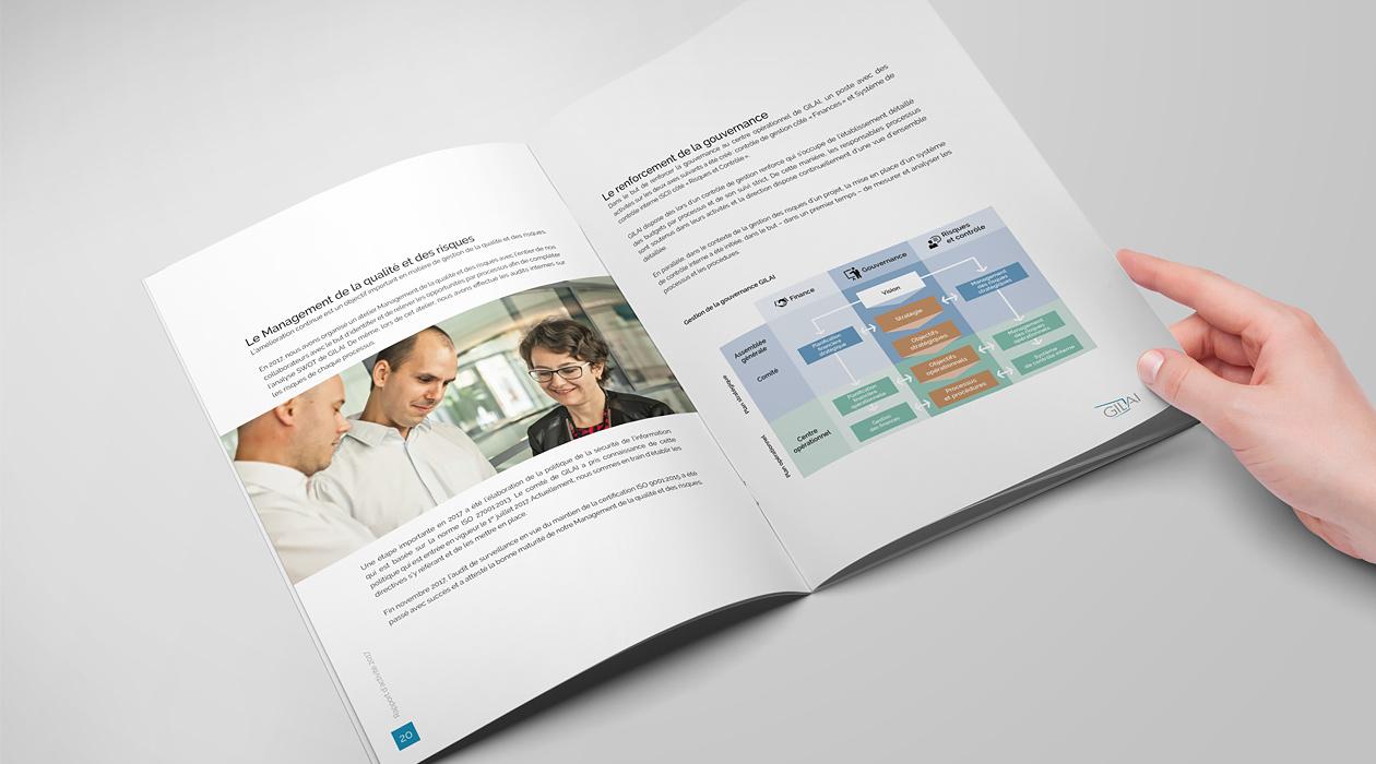 Double page du rapport d'activité 2017 avec une photo panoramique et un schéma