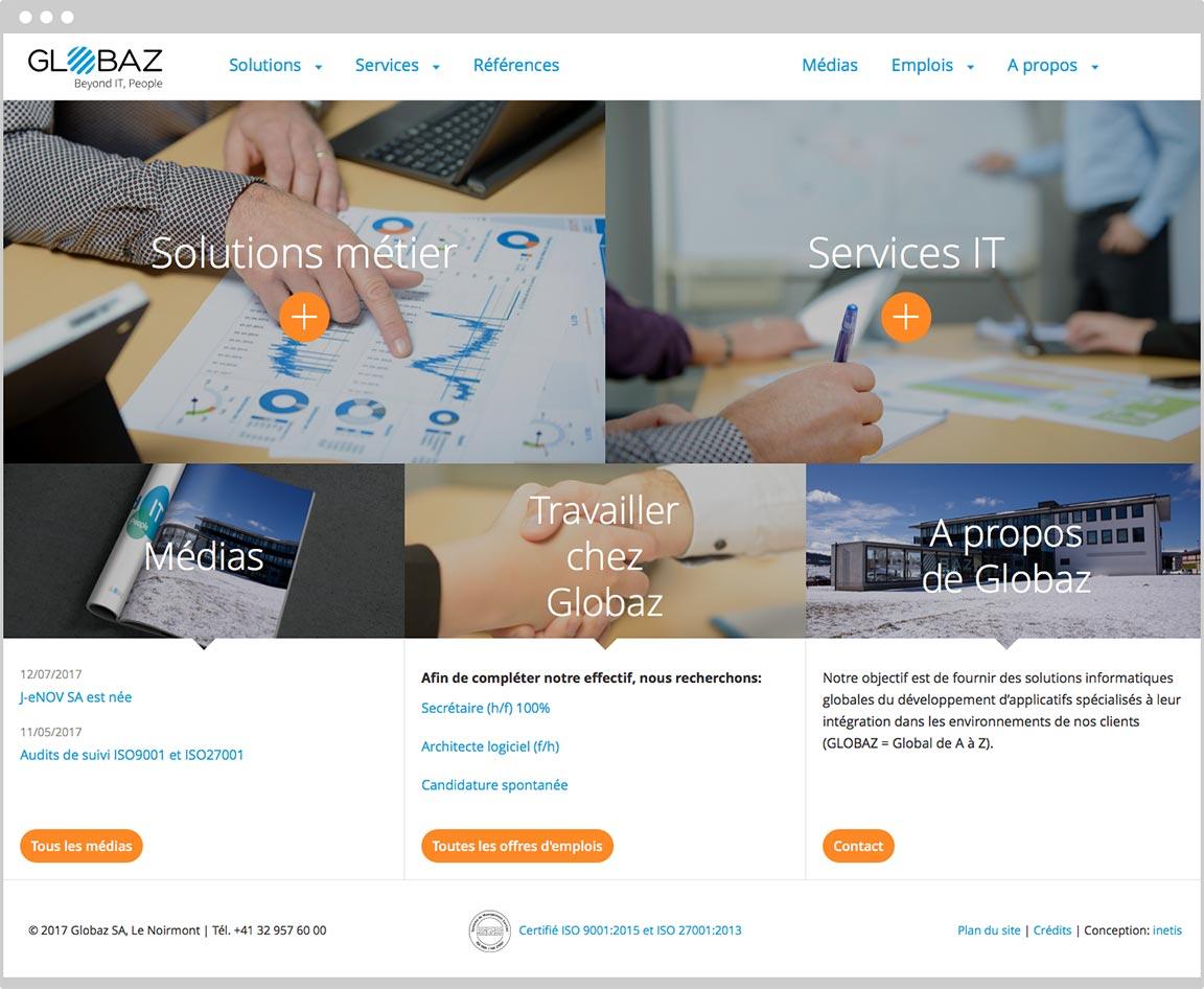 page d'accueil de Globaz