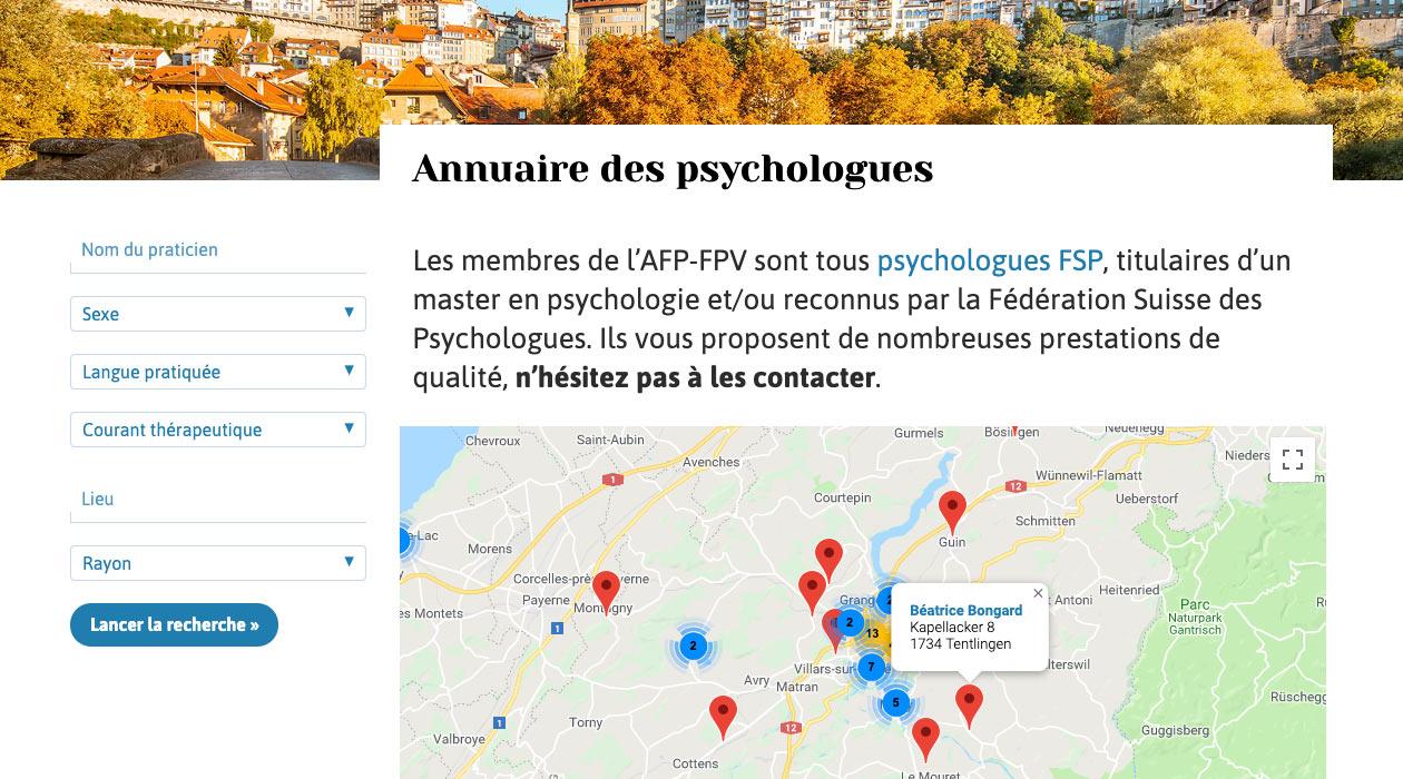 Annuaire des membres avec un carte interactive