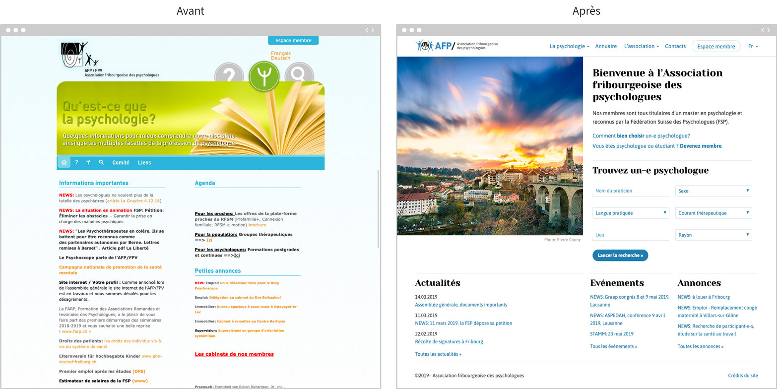 Pages d'accueil du site psy-fri.ch, avant et après