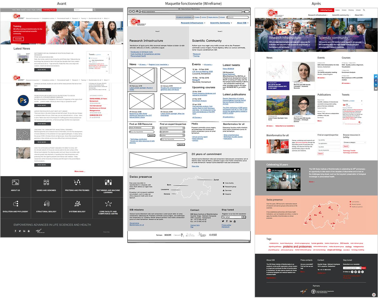 3 planches graphiques représentant le site avant, la maquette d'intention et le site après réalisation.