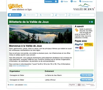Billetterie eBillet pour la Vallée de Joux
